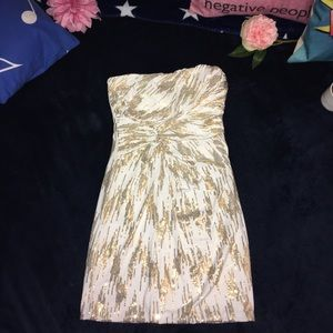 Beautiful bandage top Arden B Dress, Gold&White sm